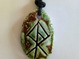 Viking Warrior Necklace Norse Ceramic Runestone Pendant