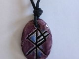 Wolf Rune Necklace Norse Runestone Purple Ceramic Pendant
