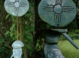 Zia Sun Clay Wind Chime Sea Green Hopi New Mexico Pottery Garden Mobile