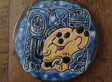 5'' Divine Jaguar Lord Ceramic Tile Decorative Mayan Wall Art