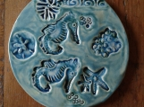 5'' Seahorse Starfish Ceramic Tile Ocean Turquoise Wall Decor