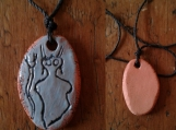 Alien Necklace Sego Canyon Pendant Terra Cotta Petroglyph Turquoise Cave Art Ancient Rock Drawings
