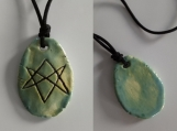 Aquarian Star Necklace Sea Green Ceramic Unicursal Hexagram Pendant Seal of Orichalcos Amulet