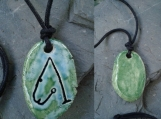 Archangel  Metatron Necklace Ceramic Turquoise Green Angel Pendant Sigil