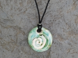 Aromatherapy Necklace Essential Oil Diffuser Disc Pendant Green Moss Ceramic