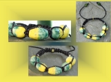 Boho Ceramic Bracelet with Fine Silver Yellow Blue Beads Tibetan Shamballa Adjustable Woven Bracelet Clay Beads