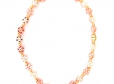 Bright Yellow Gold & Rose Gold Metal Flower Bead Stretch Anklet