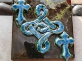 "Celtic Knot Tile Decorative Irish Ceramic Tile Metallic Burnished Gold Turquoise Green 4"" x 4"""