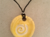 Celtic Spiral Aromatherapy Necklace Essential Oil Clay Diffuser Pendant Yellow Ceramic Pagan Symbol