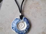 Celtic Spiral Clay Aromatherapy Necklace Cobalt Blue Essential Oil Diffuser Disc Pendant