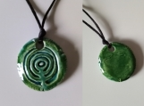 City of Atlantis Necklace Ceramic Pendant Turquoise Green Amulet
