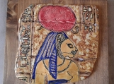 "Egyptian Sekhmet Tile on Wood Plaque Warrior Goddess Ceramic Wall Art Lioness Feline Pottery Cat Wall Decor 7-1/2"" x  8"""