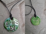 EMUQ Cuneiform Necklace Sumerian POWER Pendant Turquoise Green Ceramic Amulet Mesopotamia