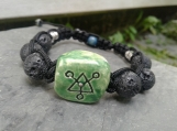 Green Bracelet Ceramic and Lava Bead Connect Symbol Adjustable Power Amulet