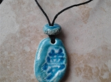 Kanji Dream Necklace Sea Glass Porcelain Pendant Teal Turquoise