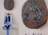 Kokopelli Clay & Glass Wind Chime Blue Bronze Pottery Chime Hopi Petroglyph Garden Ornament Mobile