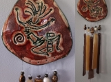 Kokopelli Clay & Glass Wind Chime Pottery Chime Hopi Petroglyph Garden Ornament Mobile