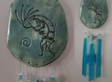 Kokopelli Ceramic & Glass Wind Chime Turquoise Hopi Mobile