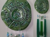 Lemurian Atlantis Clay Wind Chime MU Glass Pottery Chimes Green Turquoise Mobile Sun Catcher