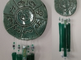 Lemurian Atlantis Clay Wind Chime MU Glass Pottery Chimes Teal Mobile Sun Catcher