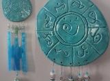 Lemurian Atlantis Pottery & Glass Wind Chime Turquoise Mobile