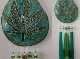 Marijuana Clay & Glass Wind Chime Turquoise Green Ceramic Pottery Cannabis Leaf Mobile