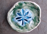 Marijuana Leaf Incense Burner Green Turquoise Mini Porcelain Ring Dish Cannabis Pottery