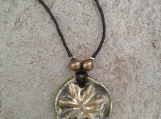 Marijuana Leaf Necklace Gold Green Bronze Ceramic Pendant Cannabis Amulet on Hemp Cord