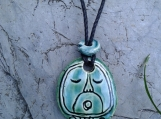 Mayan AHAW Necklace Lord Glyph Mesoamerican Turquoise Green Ceramic Tzolk'in Day Sign Amulet Clay Pendant Aztec Calender Olmec Symbol