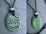 Mayan AK'BAL Necklace Ceramic Pendant Darkness Glyph Mesoamerican Turquoise Green Tzolk'in Day Sign Amulet Aztec Calender Olmec Symbol