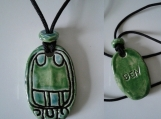 Mayan BEN Necklace Ceramic REED Glyph Pendant Turquoise Green Tzolk'in Day Sign Amulet