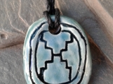 Mayan ETZ'NAB Necklace Tzolk'in Day Sign Blade Glyph Pendant Turquoise Ceramic Aztec Amulet