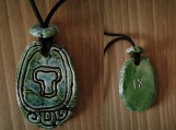 Mayan IK Necklace Mesoamerican Tzolk'in Day Sign Glyph WIND Ceramic Amulet Turquoise Green Pendant