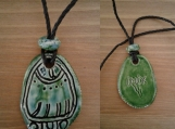 Mayan IMIX Necklace Mesoamerican Tzolk'in Day Sign Crocodile Glyph Ceramic Amulet Turquoise Green  Pendant