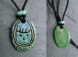 Mayan I'X Necklace Turquoise Green Jaguar Glyph Pendant Mesoamerican Tzolk'in Day Sign Ceramic Amulet