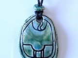 Mayan K'AN Necklace Mesoamerican Turquoise Green Tzolk'in Day Sign Maize Glyph Pendant Ceramic Amulet Aztec Calender Olmec Symbol
