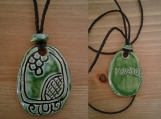 Mayan KAWOQ Necklace Mesoamerican Thunder Glyph Turquoise Green Ceramic Tzolk'in Day Sign Amulet