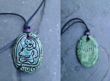 Mayan KIMI Necklace Mesoamerican Skull Glyph Pendant Turquoise Green Ceramic Tzolk'in Day Sign Amulet