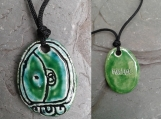 Mayan MULUK Necklace Water Glyph Pendant Ceramic Tzolk'in Day Sign Amulet