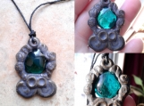 Mayan Necklace Teal Green Pendant Ceramic & Glass Mesoamerican Cenote Amulet