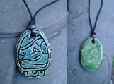 Mayan OK Necklace Turquoise Green Ceramic Mesoamerican Dog Glyph Tzolk'in Day Sign Amulet Clay Pendant