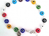 Multi-colored Evil Eye Link Ankle Bracelet