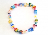 Multi-Colored Stretch Bracelet with Glass Flower Cubes