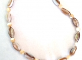 Natural Shell Stretch Anklet with Mother of Pearl Spacer Beads