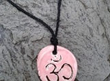 Om Necklace Pink & Gold Lustre Ceramic Pendant Sacred Amulet Ultimate Reality