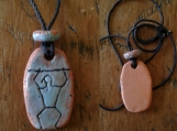 Paddle Man Necklace Hawaiian Pendant Turquoise Terra Cotta Amulet South Pacific Petroglyph