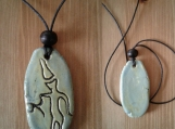 Petroglyph Necklace Ancient Symbol Pendant Ceramic Sea Green Peterborough Native American Stone Art
