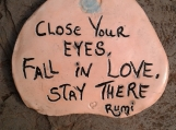 "Rumi Inspirational Quote Wall Decor Peach Ceramic Decorative Tile Wall Art Close Your Eyes Fall in Love 4-1/2"" x 3-3/4"""
