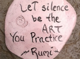 "Rumi Inspirational Quote Wall Decor Pink Lilac Ceramic Decorative Tile Wall Art Let Silence be the Art 3-3/4"" x 3-1/2"""