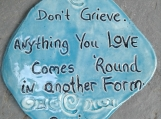 "Rumi Inspirational Quote Wall Decor Turquoise Ceramic Decorative Tile Wall Art Don't Grieve Anything You Love 4-3/4"" x 4-1/2"""